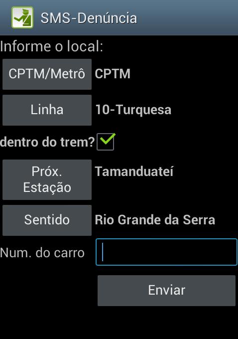 Tela do aplicativo SMS Denúncia