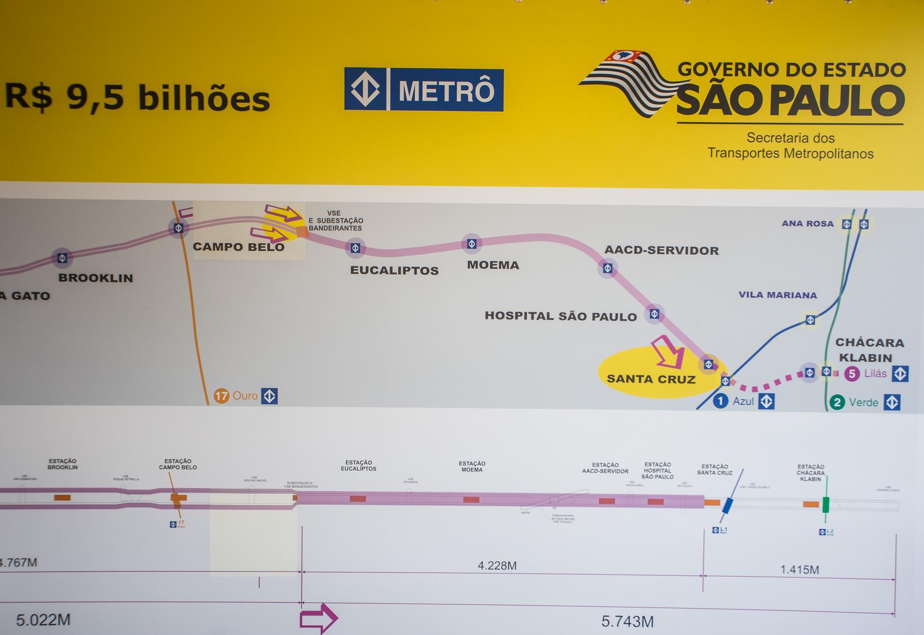 A expansão da Linha 5-Lilás, entre o Largo Treze e a Chácara Klabin, terá 11,5 km de extensão e 11 estações ( Foto: A2img/Eduardo Saraiva)