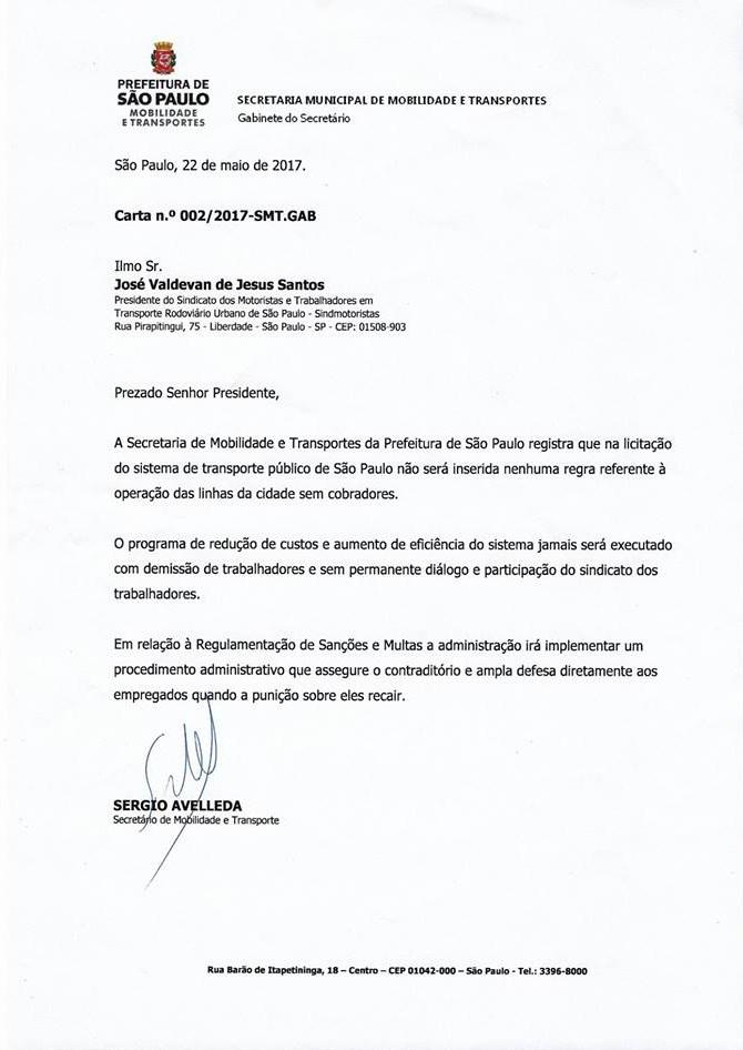 Carta Prefeitura de São Paulo