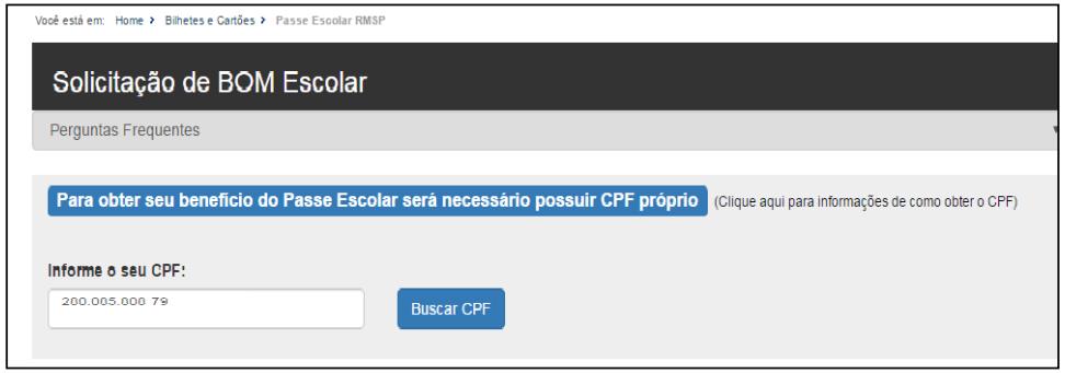 informe seu cpf