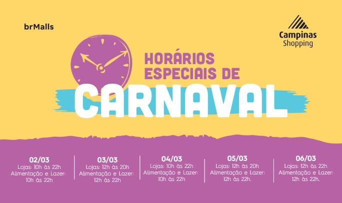campinas shopping feriado carnaval