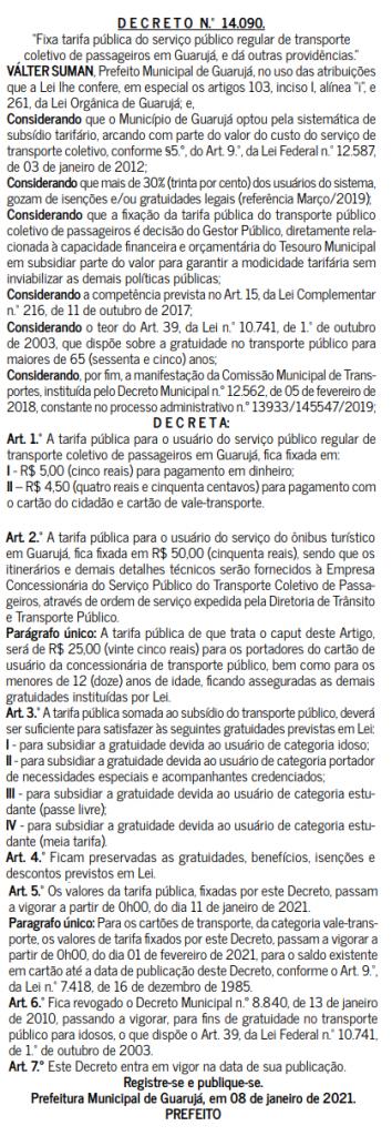 Decreto Tarifa Guarujá